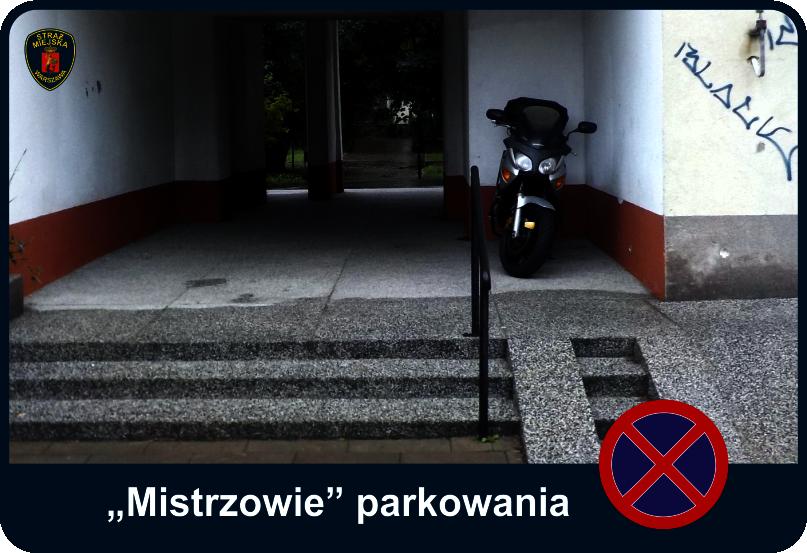 Mistrzowie parkowania - motocykl blokujący drogę dla niepełnosprawnych
