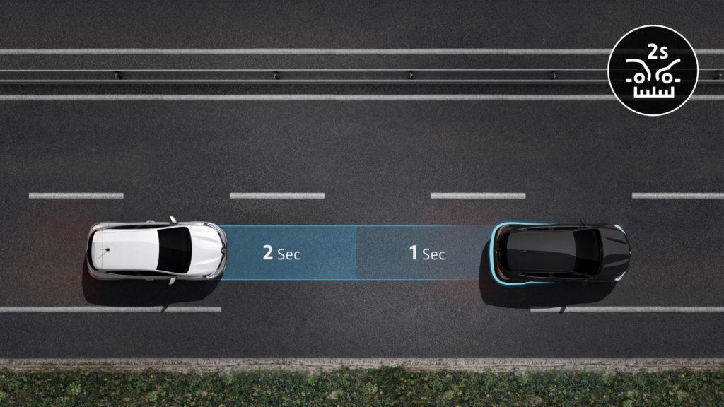 odległość pomiędzy samochodami