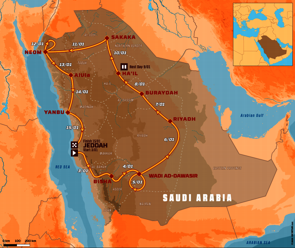 Dakar 2021 - mapa trasy rajdu