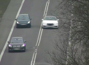 Audi nagrywane z policyjnego drona (fot. Policja)