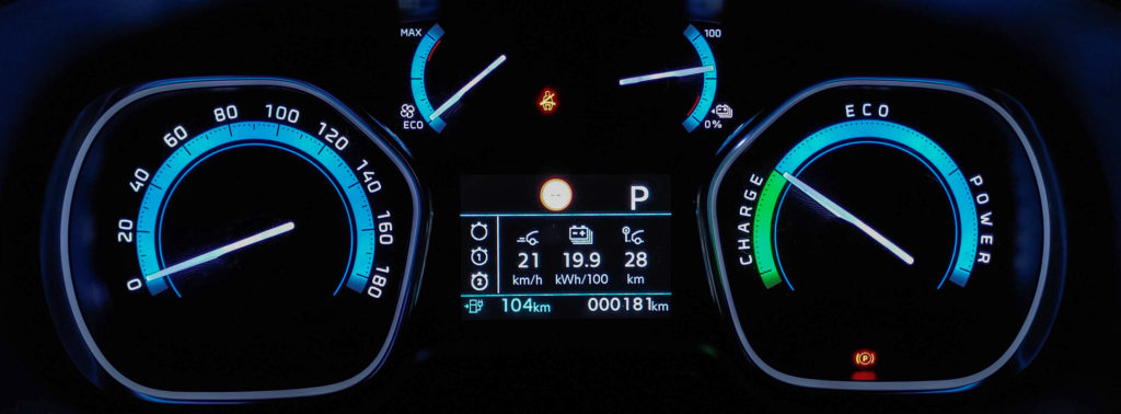 Opel Zafira e-Life, średnie zużycie energii na testowej trasie w warunkach miejskich (fot. Jakub Kornacki / Automotyw.com)