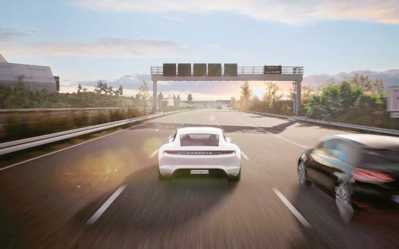 Wirtualna autostrada A8 w pobliżu lotniska w Stuttgarcie - symulacja Game Engine (fot. Porsche)